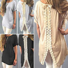 Womens Casual Short Sleeve Lace Shirts Blouse Loose Mini Dress T-Shirt Long Tops