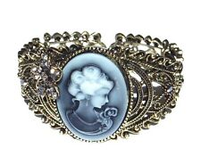 ANTIQUED GOLD-TONE CAMEO CUFF victorian steampunk bangle bracelet rhinestone M5