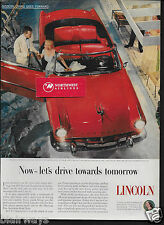 LINCOLN MOTOR CARS 1953 RED CONVERTIBLE LET'S DRIVE TOWARDS TOMORROW AD