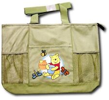 DISNEY WINNIE THE POOH LARGE DIAPER BAG ZIPPER TOP SIDE POCKETS FOR BOTTLES NIP