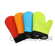 Silicone Kitchen Oven Gloves Pot Holder Baking BBQ Cooking Mitts Heat Resistant