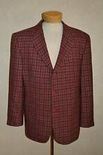 V2 by Versace 42R Red w/Black & Gray Marbled Plaid Boucle 3Btn Sport Coat Italy
