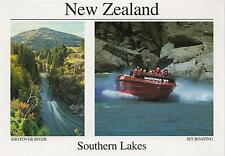 LARGE SOUTHERN LAKES NEW ZEALAND POSTCARD - SHOTOVER RIVER & JET BOATING NZ PC