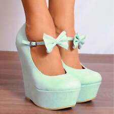 LADIES WEDGED PLATFORMS WEDGES HIGH HEELS BOWS MARY JANES COURT SHOES SIZE 3-8