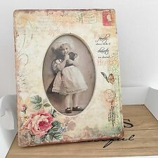 Photo Picture Frame 4 X 6 Cream Vintage Postcard & Roses Shabby Floral Chic Gift