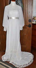 1920's Antique White Lace & Chiffon Wedding Gown With Bridal Train
