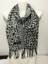 CASHMERE SCARF LEOPARD DESIGN COLOR WHITE SUPER SOFT UNISEX