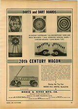 1946 PAPER AD Darts Dart Board 20th Century Coaster Wagon Henik & Sites Co