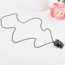 Women Crystal Rhinestone Owl beaded Pendant long Chain Necklace Jewelry gift hs