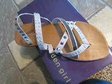 NEW MADDEN GIRL HOFFMAN TAUPE STUDDED SANDALS WOMENS 8.5 SLIDE THONG FREE SHIP