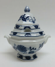 Blue Onion Porcelain Mustard Pot / Jam Jar ~ Vienna Woods / Mann ~ Mint