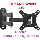 3D LED LCD TV SWIVEL TILT WALL MOUNT BRACKET 15 19 22 26 27 VESA 50 75 100mm