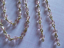 """Rosaline Pink 4mm Fire Polished Glass Beads Brass Linked Bead Chain Qty 18"""""""