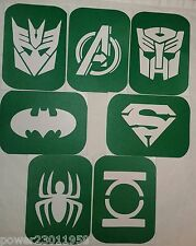 Pack of 7 Vinyl Super heroes and Transformers Glass Glass and etching Stencils