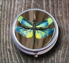 DRAGONFLY BLUE YELLOW WINGS PILL BOX ROUND METAL -h5y6b