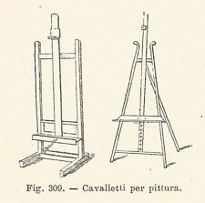 B1698 Cavalletti per pittura - Incisione antica del 1924 - Engraving