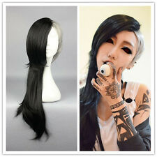 1pcs Ghoul Uta Mask Maker Wig Long Wavy Black and Silvery Anime Cosplay Wig
