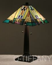 """Tiffany Style Stained Glass Mission Lamp """"Aspen Blue"""" FREE SHIPPING IN USA"""