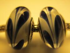 Set 2 Authentic Pandora Sterling Silver 925 Ale Blue Swirly Swirls Bead Charm