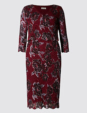 M&S PER UNA Floral Double Layer Lace Shift Dress Size UK 14 Short BNWT