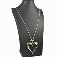 Lagenlook silver colour large open heart pendant long fitting chain necklace