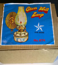 Vintage Glass Star Brand Wall Mount Oil Lamp with Reflector Hong Kong NIB NOS
