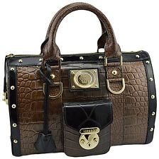 $4.700 VERSACE Black Bronze Croc Leather Gold Studs Shopper Bag LIMITED EDITION