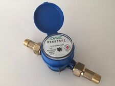 "DAE AS130U-50 1/2"" Potable Water Meter, Measuring in Gallon + Couplings"