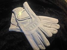 White Leather Competition Ladies Dressage Gloves With Swarvoski Crystals ����