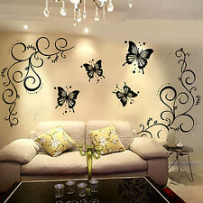 Butterfly With Vine DIY Removable Wall Stickers Decal Mural Fashion Home Decor R