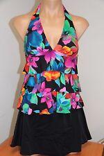NWT Caribbean Joe Swimsuit Bikini Tankini Skirt 2pc set Sz 14 WIN Ruffles Halter