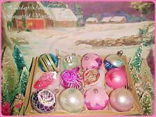 Fabulous Vtg Antique Poland Indents & Tips Pink Pinecone Glass Xmas Ornaments