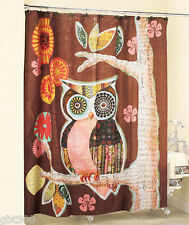 Owl Friend Shower Curtain IN HAND Fabric Brown Whimsical Bath Decor