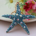 Full Rhinestone Starfish keychain Charm Crystal Purse Bag Key Chain YSK135