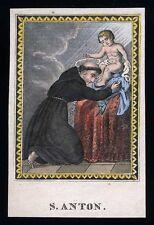 santino incisione 1800 S.ANTONIO DA PADOVA  dip. a mano