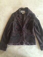 SUGAR LIPS Brown Embroidered Cotton Embellished Corduroy Jacket Coat Size Small