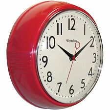NEW Red Retro Kitchen Wall Clock Decor 1950's Era Design Battery Operated Room