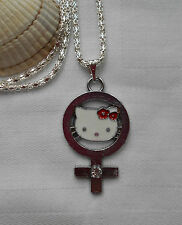 Kids childrens girls Hello Kitty necklace silver plated enamel pendant