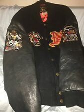 AVIREX Ed Hardy For Avirex Mens' L Jacket Leather/wool Varsity Jacket Patches