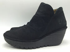 13A11 Fly London Zip Side Black Casual Suede Wedge Fashion Bootie Women Shoe Sz8
