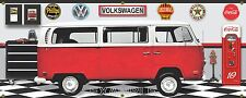 1970 VOLKSWAGEN BUS RED WHITE GARAGE SCENE BANNER SIGN ART MURAL DIORAMA 2' X 5'