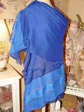 EXQUSITELY EMBROIDERED Shimmering COBALT NAVY CHIFFON PASHMINA SHAWL WRAP SCARF