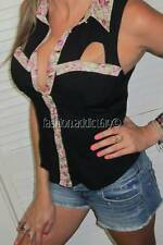 SEXY BLK COUNTRY RODEO PINK VTG FLORAL CUTOUT DRESS SHIRT WESTERN TANK TOP LARGE