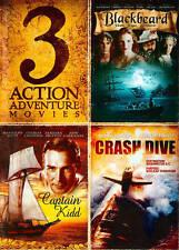 3 Action Adventure Movies DVD, 2014 Blackbeard, Captain Kidd, Crash Dive