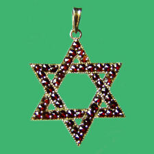 Bohemian Rose Cut Garnet 14K Solid Gold Star of David Pendant GP-209 Certificate