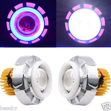 High/Low Beam 12V 8000K LED Headlight For Motorcycle Angel Eyes White Devil Eye