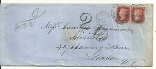 * 1868 LONDON 2d RATE COVER HANDSTRUCK 2 POSTAGE DUE & MORE TO PAY W C IN CIRCLE