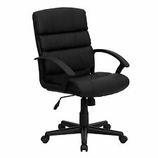 Office Chair Black Swivel Mid-back Leather Sturdy Furniture