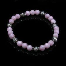 PETITE 925 Sterling Silver High Grade Pink Rhodochrosite Beaded Stretch Bracelet