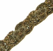 "Vintage Saree Border Indian Craft Trim Antique Hand Beaded Lace 1.25"" W Ribbon"